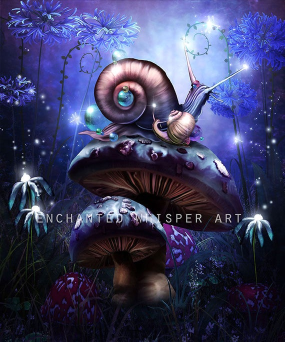 fantasy snails and mushrooms nursery decor art print