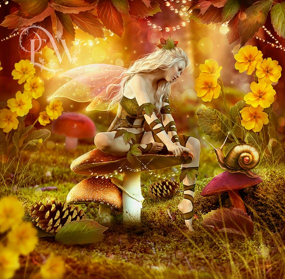 fantasy faerie in forest art print, beautiful fairy wall art, yellow and orange, digital art