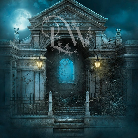 digtial Photoshop background, Gothic Graveyard backdrop for photo compositing, Spooky Halloween