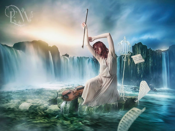 Surreal fantasy violinist in the ocean art print, music lover gift, violin art print