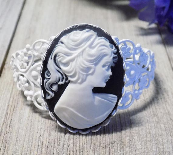 classic vintage Victorian style black and white filigree large cameo bracelet