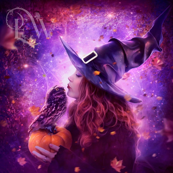 Fantasy Witch with owl Halloween art print in purple