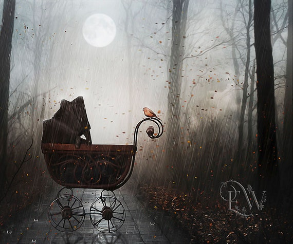 Gothic Victorian baby carriage in forest art print