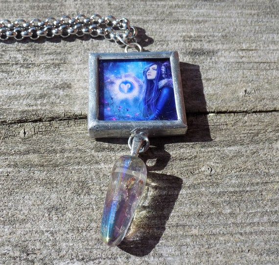 Aries framed art necklace with druzy crystal