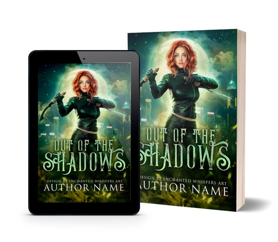 Urban fantasy premade book cover with red haired woman with weapons