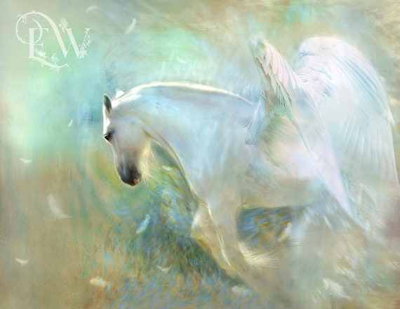 fantasy white pegasus art print