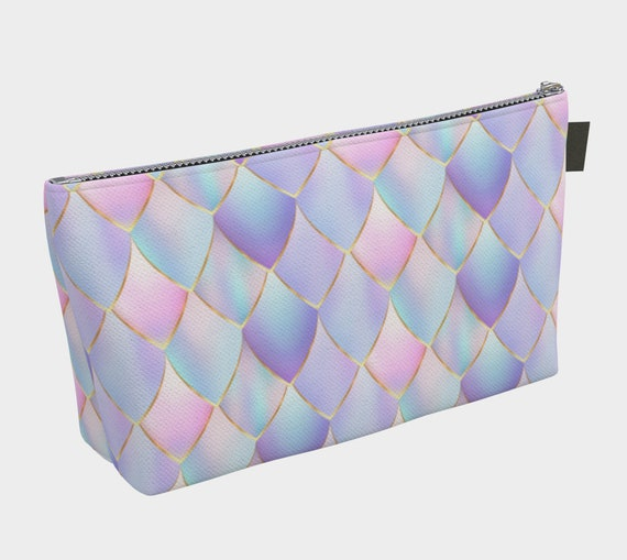 purple and pink dragon scales pattern cosmetic bag, scales makeup bag, large bag