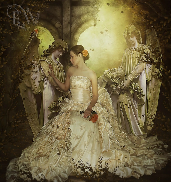 fanatsy Gothic bride woman with Angel statues art print