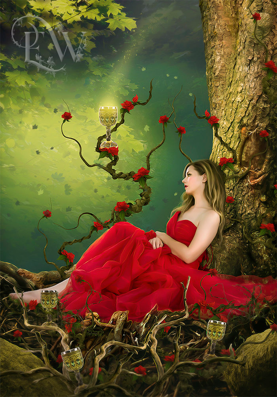 four of cups, Tarot art print, fantasy art print, Tarot wall art, digital art print, fantasy forest, red and green, fantasy woman, Arcana