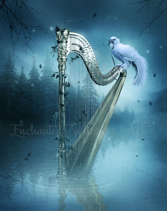 white dove on fantasy harp art print