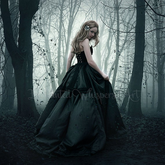 mysterious fantasy woman in forest art print