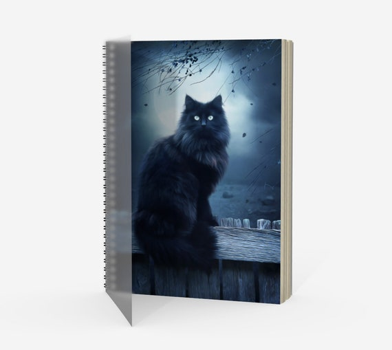 black cat notebook, fantasy cat, cat lover gift, cat journal, cat diary, cat art, art journal, sketch book, diary book, daily planner