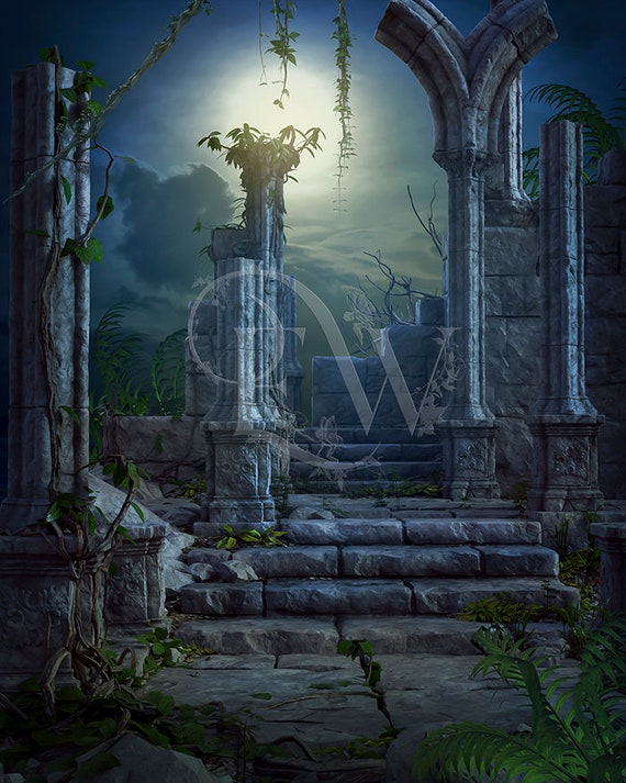 Photoshop digital jungle ruins premade background, photography photo compositing, fantasy backdrop
