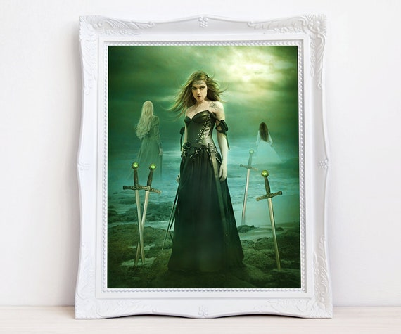 Five of Swords fantasy woman Enchanted Tarot art print