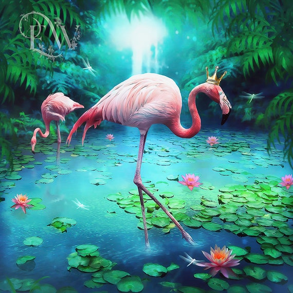 Whimsical pink Flamingo art print