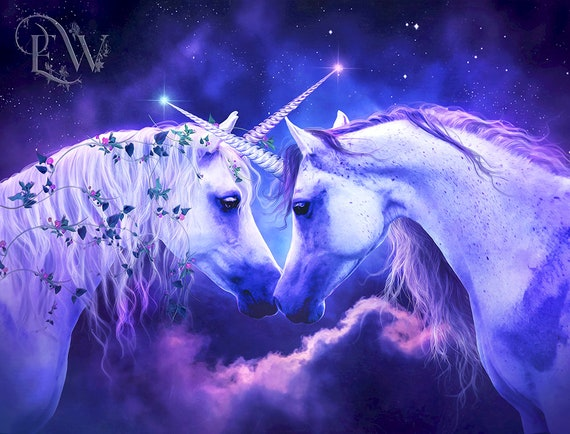 purple and pink fantasy Unicorn portrait  art print