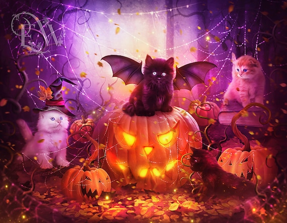 Halloween kittens with pumpkins cute art print, fantasy cats wall decor