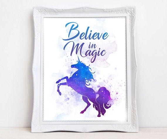 Unicorn water color print, Unicorn galaxy art, Believe in magic, motivational quote, girl's room decor