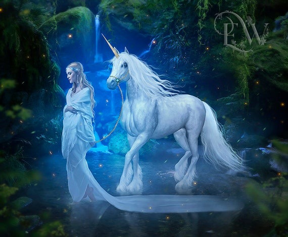 White Unicorn and elf woman fantasy art print