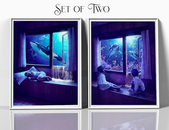 Set of two fantasy art prints, children's bedroom wall decor, ocean wall art