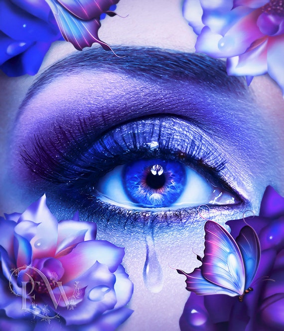 beautful surreal blue eye with tear art print