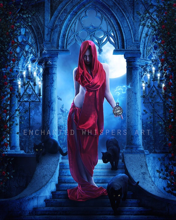 "fantasy woman with black cats art print ""Potion"" by Enchanted Whispers"