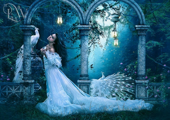 fantasy art print, white peacocks art, beautiful girl art, fantasy forest art print, bird wall decor