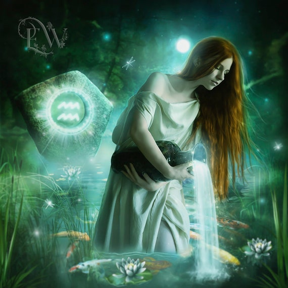 Aquarius fantasy art print by Enchanted Whispers Art