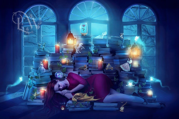 fantasy woman with books fairytale art print