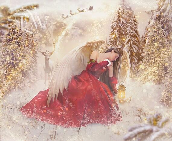 Christmas angel fantasy art print, Holiday Angel poster, X-mas wall art, digital art print