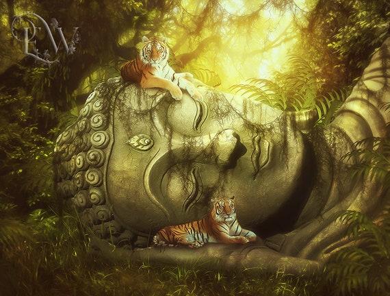 Tigers on Buddha statue art print