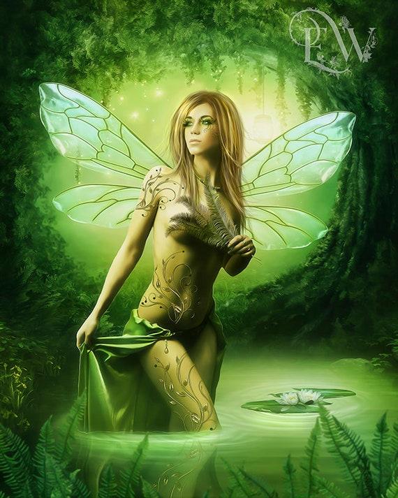 Fantasy Fairy art Emerald Enchanted Fae art print