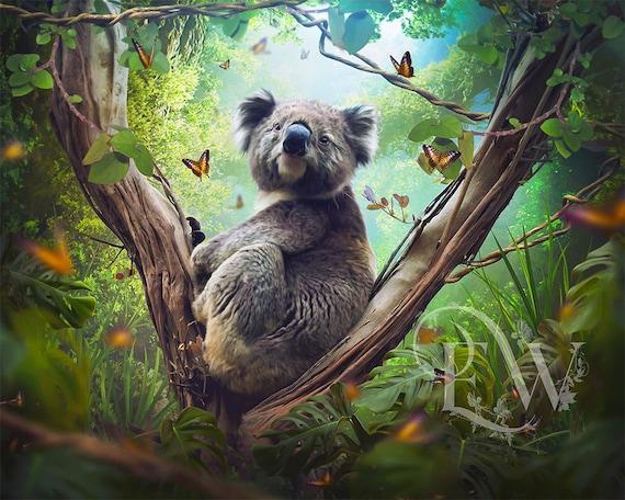 Koala with butterflies fantasy animal art print, koala wall decor, rain forest digital art