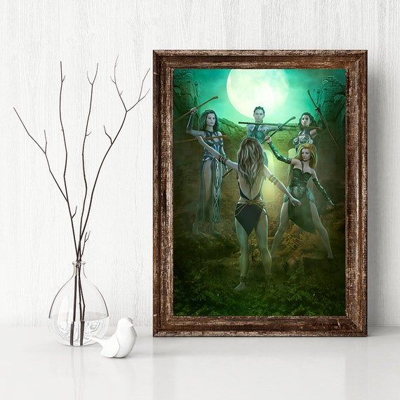 five of wands Tarot art print digital painting fantasy poster