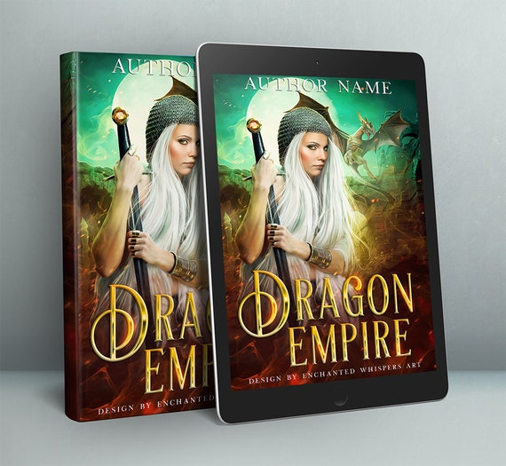 Fantasy warrior woman and dragon premade book cover art