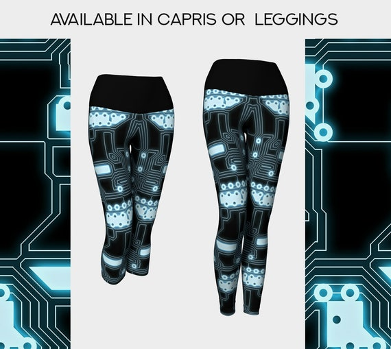 techy cyborg yoga leggings or capris in black and aqua
