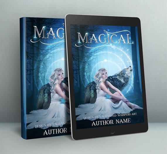 fantasy book cover design with woman and wolf in forest