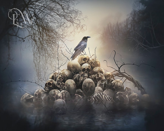 crow and skulls art print
