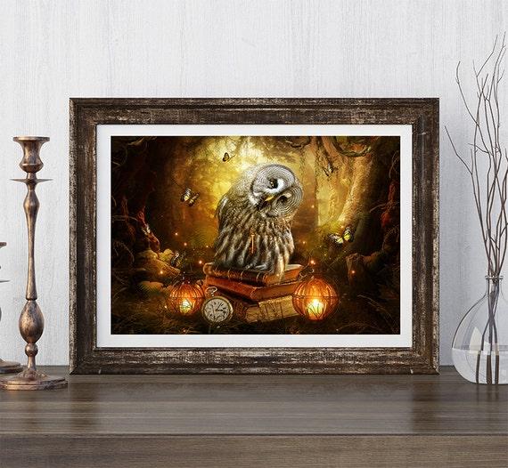 owl artwork owl print fantasy owl owl wall decor owl wall   Etsy