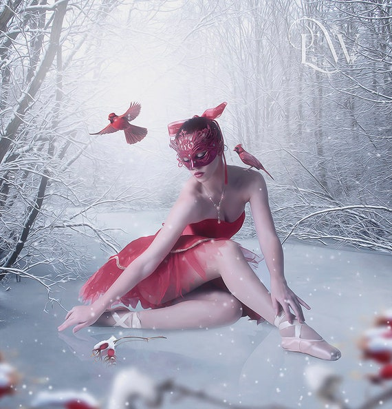 fantasy ballerina in winter scene with cardinals