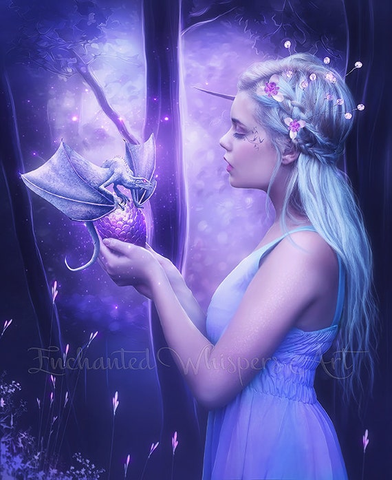 woman with dragon egg purple fantasy portrait