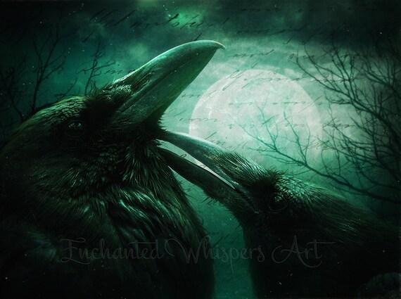 dark Gothic Raven portrait art print