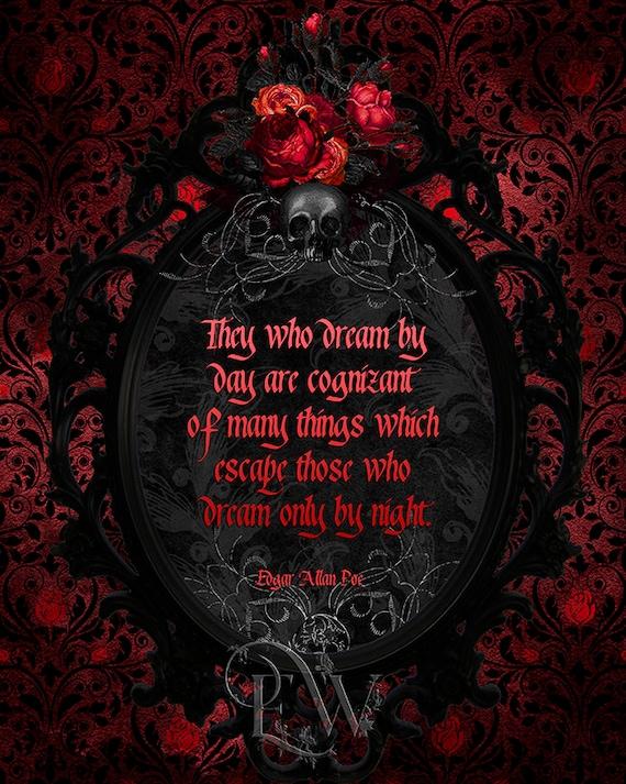 Poe Zitat Gothic Zitat Druck Gothic Wand Dekor Rot Und Schwarz Viktorianischen Frame