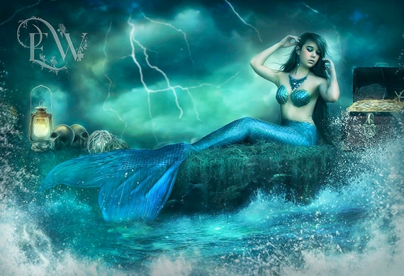 blue and green fantasy mermaid with treasure art print