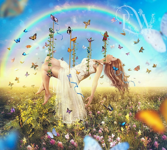 Whimsical woman with butterflies fantasy art print, colorful wall art, fairy Queen poster