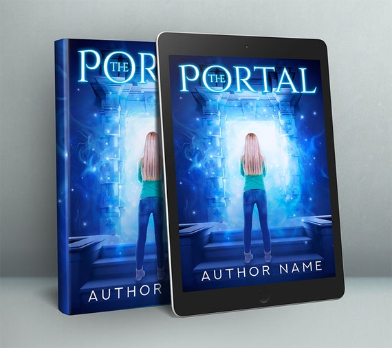 magical portal with girl fantasy premade cover art