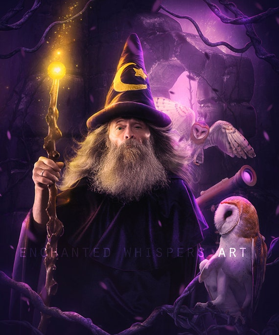Purple digital fantasy art print Merlin with owls