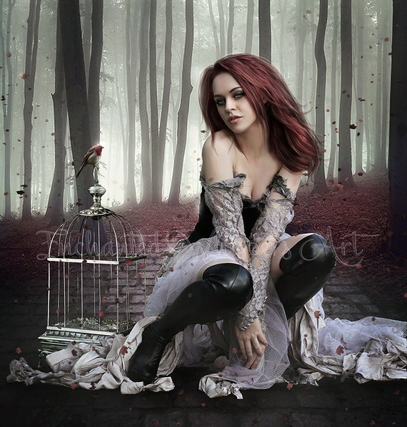 Gothic fantasy woman in forest art print