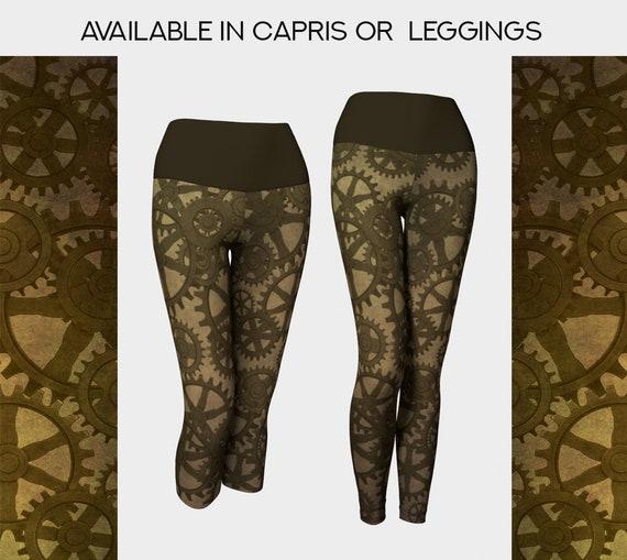 unique Steampunk gears leggings or capris in brown
