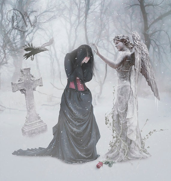 Gothic Victorian Cemetery graveyard with crow and woman art print